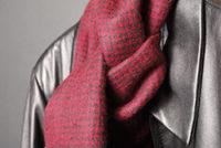 黒革のジャケットと赤いマフラー