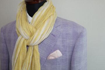 薄藤色の格子柄の麻綿混生地でオーダージャケットのご注文をいただきました。の画像