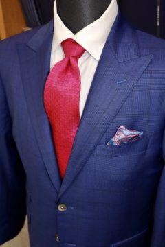タリア紺のグレンチェックでオーダースーツ|Fashion AT Men'sの画像