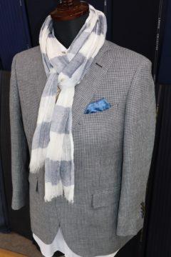 ランバン濃紺千鳥格子でオーダージャケット|Fashion AT Men'sの画像