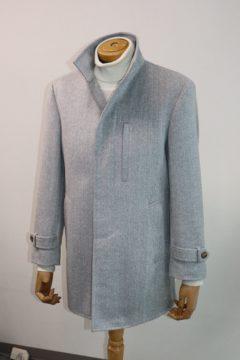 カシミア100%ライトグレーのコート|Fashion AT Men'sの画像