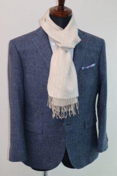 ブルーのかすれ調生地でオーダージャケット|Fashion AT Men'sの画像