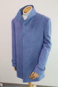 ブルー千鳥格子でカシミア100%オーダーコート|Fashion AT Men'sの画像
