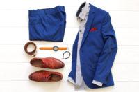 ブルースーツのコーディネート
